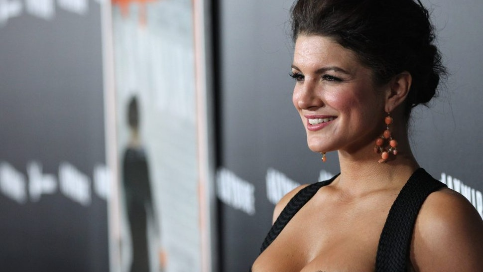 """LOS ANGELES, CA - JANUARY 05: Actress Gina Carano arrives at Relativity Media's premiere of """"Haywire""""co-hosted by Playboy held at the DGA Theater on January 5, 2012 in Los Angeles, California."""