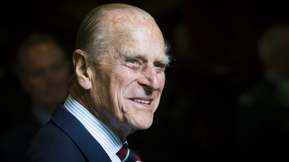 EDINBURGH, UNITED KINGDOM - JULY 04: Prince Philip, Duke of Edinburgh smiles during a visit to the headquarters of the Royal Auxiliary Air Force's (RAuxAF) 603 Squadron on July 4, 2015 in Edinburgh, Scotland.