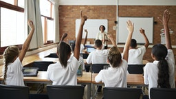Back view of schoolclass with raised hands - stock photo
