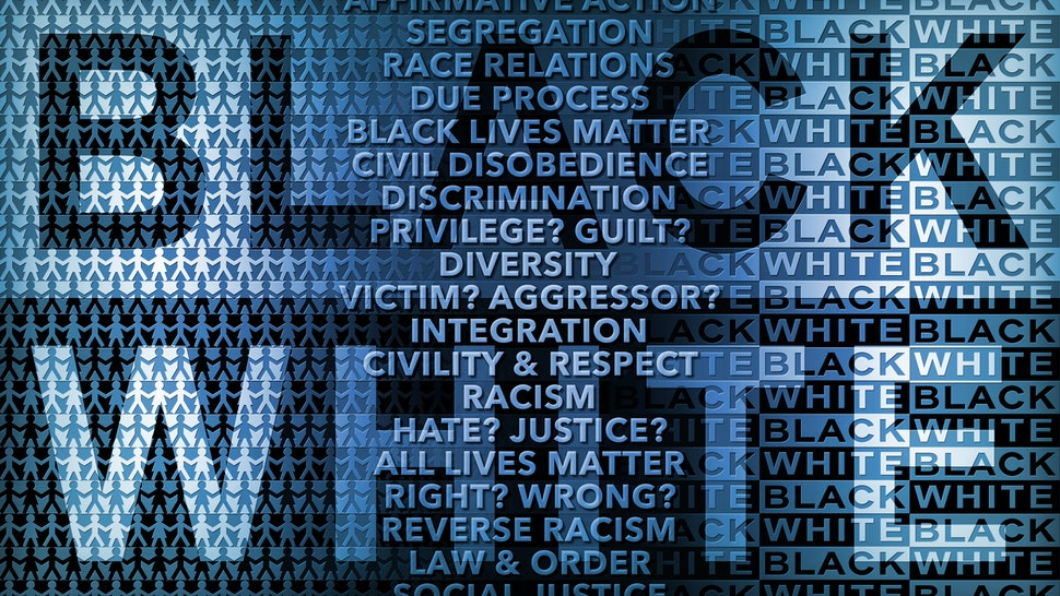 Race Relations in Black and White - stock photo