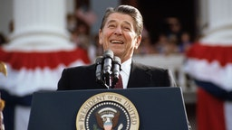 President Ronald Reagan, campaigning for a second term of office, smiles during a rally speech at the California State Capitol the day before the 1984 presidential election. (Photo by © Wally McNamee/CORBIS/Corbis via Getty Images)