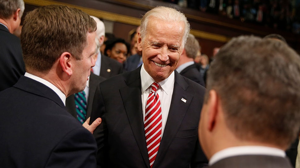 Vice President Joe Biden arrives before the State of the Union address to a joint session of Congress on Capitol Hill in Washington, Tuesday, Jan. 12, 2016. (AP Photo/Evan Vucci, Pool) (Photo by Pool/WHITE HOUSE POOL (ISP POOL IMAGES)/Corbis/VCG via Getty Images)