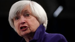 WASHINGTON, DC - DECEMBER 13: Federal Reserve Chair Janet Yellen speaks during her last news conference in office December 13, 2017 in Washington, DC. Yellen announced that the Federal Reserve is raising the interest rates by a quarter point to 1.5%.