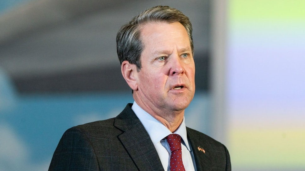 Brian Kemp, governor of Georgia, speaks during a news conference at a mass covid-19 vaccination site at the Delta Flight Museum in Hapeville, Georgia, U.S., on Wednesday, Feb. 25, 2021.
