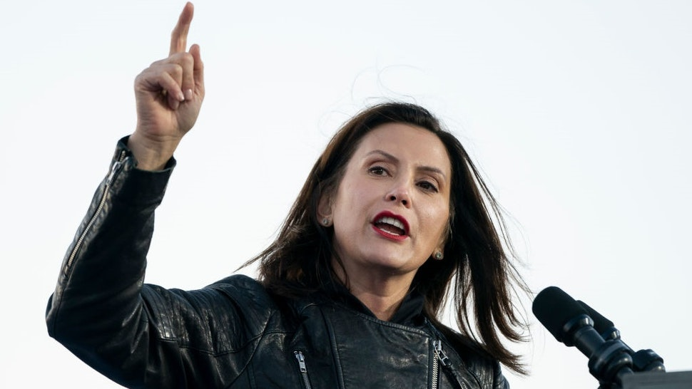 DETROIT, MI - OCTOBER 31: Gov. Gretchen Whitmer speaks during a drive-in campaign rally with Democratic presidential nominee Joe Biden and former President Barack Obama at Belle Isle on October 31, 2020 in Detroit, Michigan.