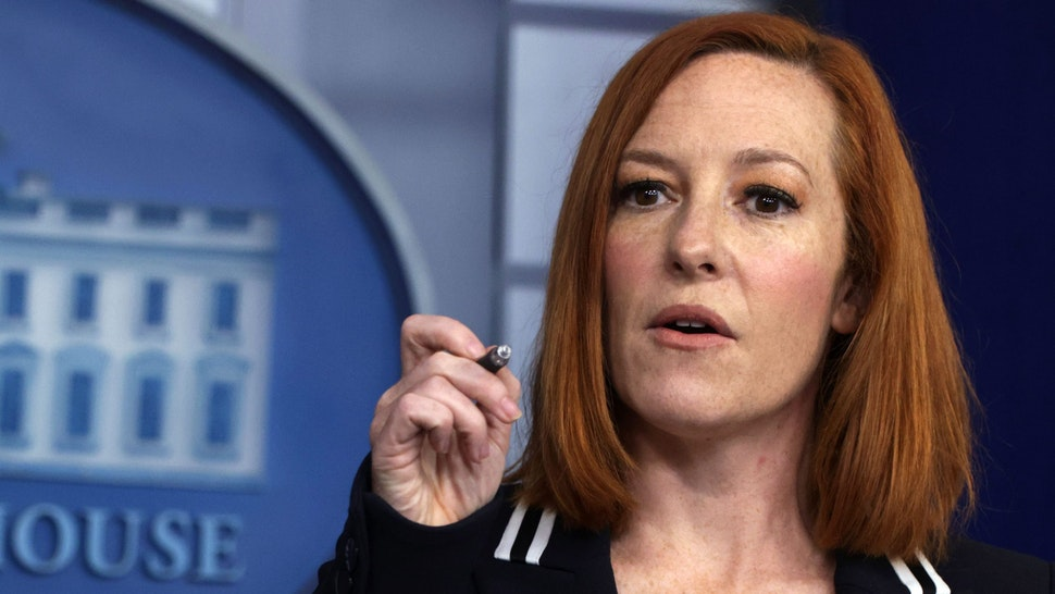 WASHINGTON, DC - APRIL 21: White House Press Secretary Jen Psaki speaks during a daily press briefing at the James Brady Press Briefing Room of the White House on April 21, 2021 in Washington, DC. Psaki held the daily briefing to answer questions from members of the press.