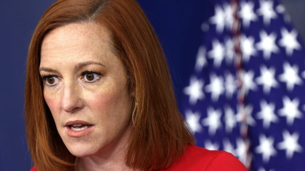 WASHINGTON, DC - APRIL 22: White House Press Secretary Jen Psaki speaks during a daily press briefing at the James Brady Press Briefing Room of the White House April 22, 2021 in Washington, DC. Psaki held the daily press briefing to discuss various topics including the virtual Leaders Summit on Climate with 40 world leaders that was held by the White House today.
