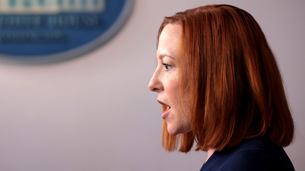WASHINGTON, DC - APRIL 05: White House Press Secretary Jen Psaki speaks during a daily press briefing at the James Brady Press Briefing Room of the White House on April 05, 2021 in Washington, DC. Psaki answered a range of questions related to the day's news.