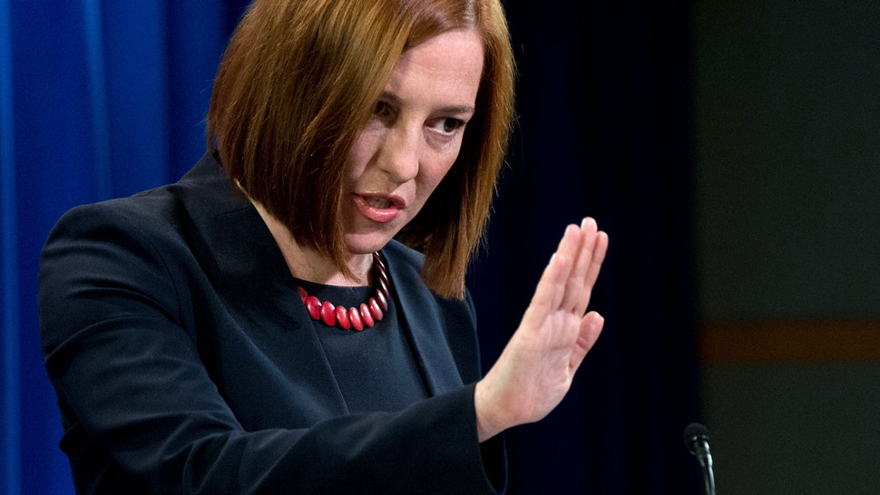 """US State Department spokeswoman Jen Psaki speaks at the daily briefing at the State Department in Washington,DC on March 10, 2014. Washington called on Russia to prove that it was willing to act on a series of US proposals aimed at ending the crisis over Ukraine. US Secretary of State John Kerry had laid out a number of ideas to his Russian counterpart Sergei Lavrov and is prepared to take part in further talks """"if and when we see concrete evidence that Russia is prepared to engage on these proposals,"""" Psaki said."""