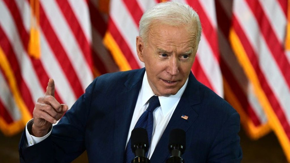 """US President Joe Biden speaks in Pittsburgh, Pennsylvania, on March 31, 2021. - President Biden will unveil in Pittsburgh a $2 trillion infrastructure plan aimed at modernizing the United States' crumbling transport network, creating millions of jobs and enabling the country to """"out-compete"""" China. (Photo by JIM WATSON / AFP) (Photo by JIM WATSON/AFP via Getty Images)"""
