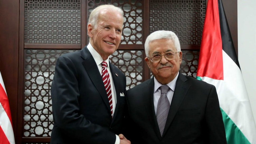 RAMALLAH, WEST BANK - MARCH 9: Vice President of the United States Joe Biden (L) meets Palestinian President Mahmoud Abbas (R) in Ramallah, West Bank on March 9, 2016.