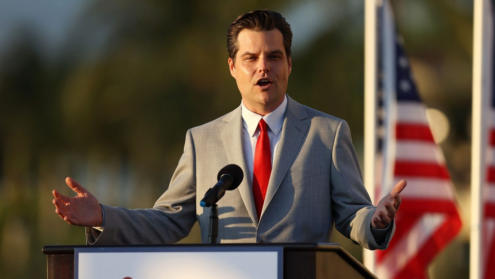 """DORAL, FLORIDA - APRIL 09: Rep. Matt Gaetz (R-Fl) speaks during the """"Save America Summit"""" at the Trump National Doral golf resort on April 09, 2021 in Doral, Florida. Mr. Gaetz addressed the summit hosted by Women for America First as the Justice Department is investigating the Congressman for allegations of sex with a minor and child sex trafficking."""