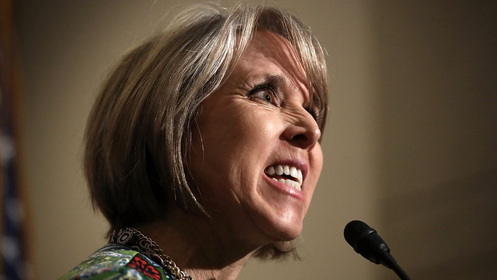 WASHINGTON, DC - MARCH 17: Rep. Michelle Lujan Grisham (D-NM), chairwoman of the Congressional Hispanic Caucus, delivers remarks following a meeting between U.S. Secretary of Homeland Security John Kelly and members of the Congressional Hispanic Caucus at the U.S. Capitol March 17, 2017 in Washington, DC. Kelly met with the group to answer questions on U.S. President Donald Trump's recent executive order limiting immigration to the U.S. as well as other topics.
