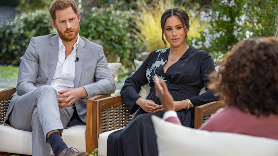 UNSPECIFIED - UNSPECIFIED: In this handout image provided by Harpo Productions and released on March 5, 2021, Oprah Winfrey interviews Prince Harry and Meghan Markle on A CBS Primetime Special premiering on CBS on March 7, 2021.