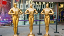 HOLLYWOOD, CA - APRIL 19: General view of Oscar-like statues on Hollywood Blvd near the Dolby Theatre at Hollywood & Highland on April 19, 2021 in Hollywood, California.