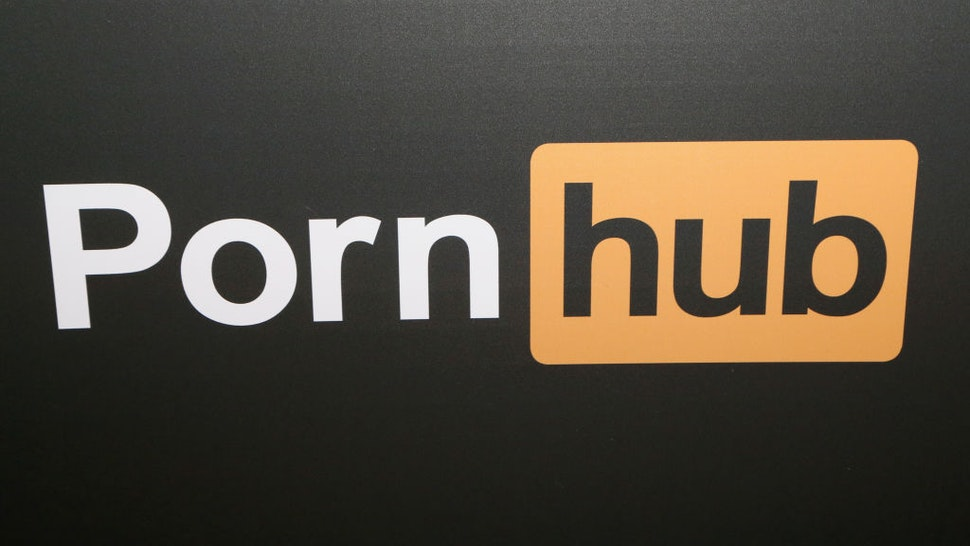 LAS VEGAS, NV - JANUARY 25: A Pornhub logo is displayed at the company's booth during the 2018 AVN Adult Expo at the Hard Rock Hotel & Casino on January 25, 2018 in Las Vegas, Nevada. (Photo by Gabe Ginsberg/FilmMagic)