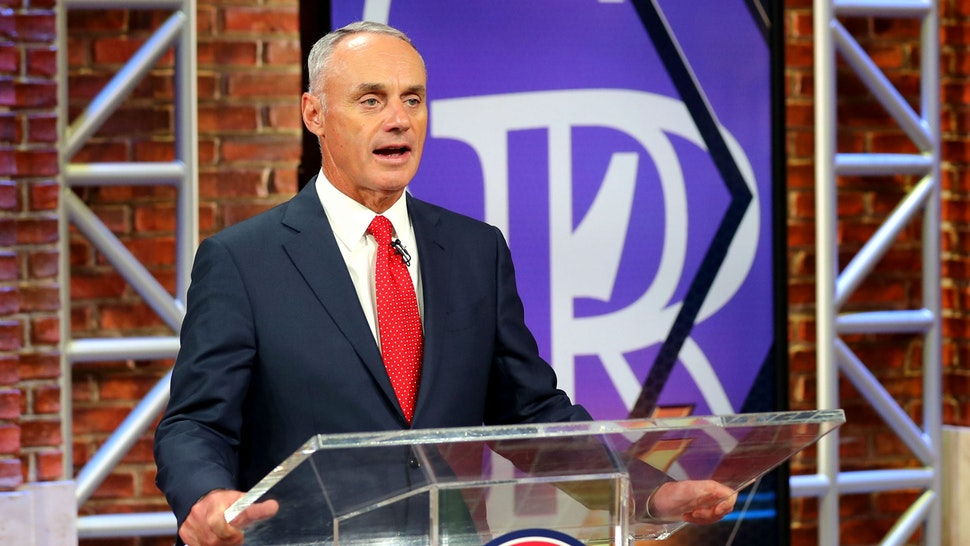 SECAUCUS, NJ - JUNE 10: Major League Baseball Commissioner Robert D. Manfred Jr. announces the ninth pick of the 2020 MLB Draft is Zac Veen by the Colorado Rockies during the 2020 Major League Baseball Draft at MLB Network on Wednesday, June 10, 2020 in Secaucus, New Jersey.