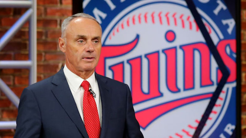 SECAUCUS, NJ - JUNE 10: Major League Baseball Commissioner Robert D. Manfred Jr. announces the 27th pick of the 2020 MLB Draft is Aaron Sabato by the Minnesota Twins during the 2020 Major League Baseball Draft at MLB Network on Wednesday, June 10, 2020 in Secaucus, New Jersey. (Photo by Alex Trautwig/MLB Photos via Getty Images)