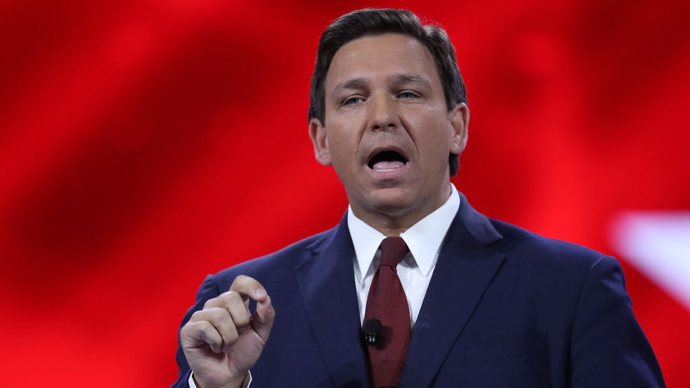 ORLANDO, FLORIDA - FEBRUARY 26: Florida Gov. Ron DeSantis speaks at the opening of the Conservative Political Action Conference at the Hyatt Regency on February 26, 2021 in Orlando, Florida. Begun in 1974, CPAC brings together conservative organizations, activists and world leaders to discuss issues important to them. (Photo by Joe Raedle/Getty Images)