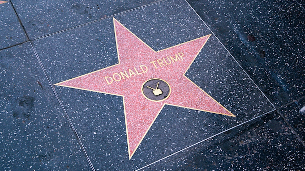HOLLYWOOD, CA - APRIL 21: General view of Donald Trump's Star on the Walk of Fame, unveiled for the first time after being destroyed in early October 2020 and then covered with plywood for months, after being re-forged on April 21, 2021 in Hollywood, California.
