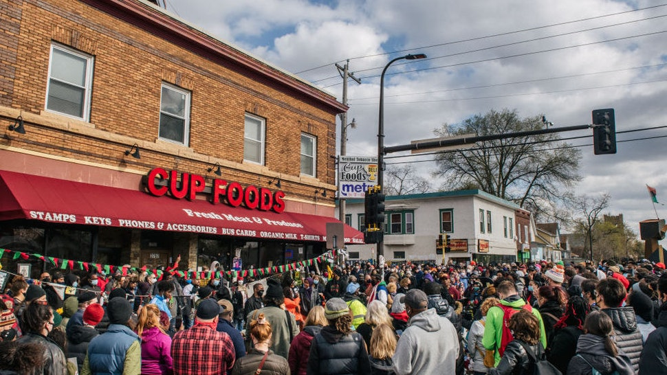 MINNEAPOLIS, MN - APRIL 20: People celebrate the guilty verdict in the Derek Chauvin trial at the intersection of 38th Street and Chicago Avenue on April 20, 2021 in Minneapolis, Minnesota. Former Minneapolis police officer Chauvin was found guilty today on all three charges he faced in the death of George Floyd.