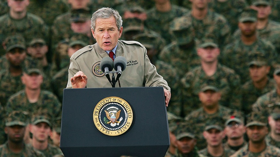 CAMP PENDLETON, CA - DECEMBER 7: U.S. President George W. Bush speaks to Marines on the 63rd anniversary of the Japanese attack on Pearl Harbor December 7, 2004 at Camp Pendleton, California. More than 21,000 Marines serving in Iraq and neighboring nations are part of the 1st Marine Expeditionary Force based at Camp Pendleton, which has one of the highest casualty rates in the U.S.-led war in Iraq. (Photo by