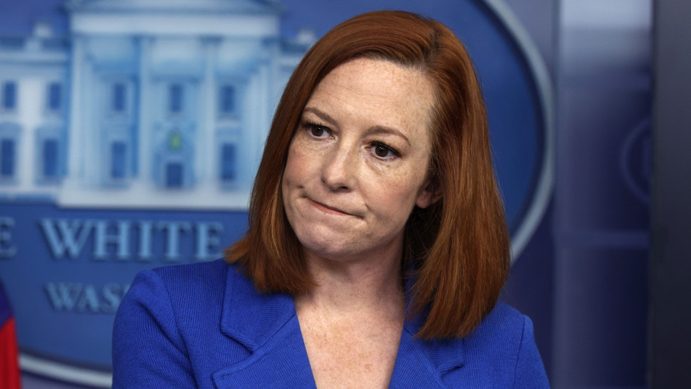 WASHINGTON, DC - APRIL 19: White House Press Secretary Jen Psaki participates in a daily press briefing at the James Brady Press Briefing Room of the White House April 19, 2021 in Washington, DC. Psaki held the briefing to answer questions from members of the press.