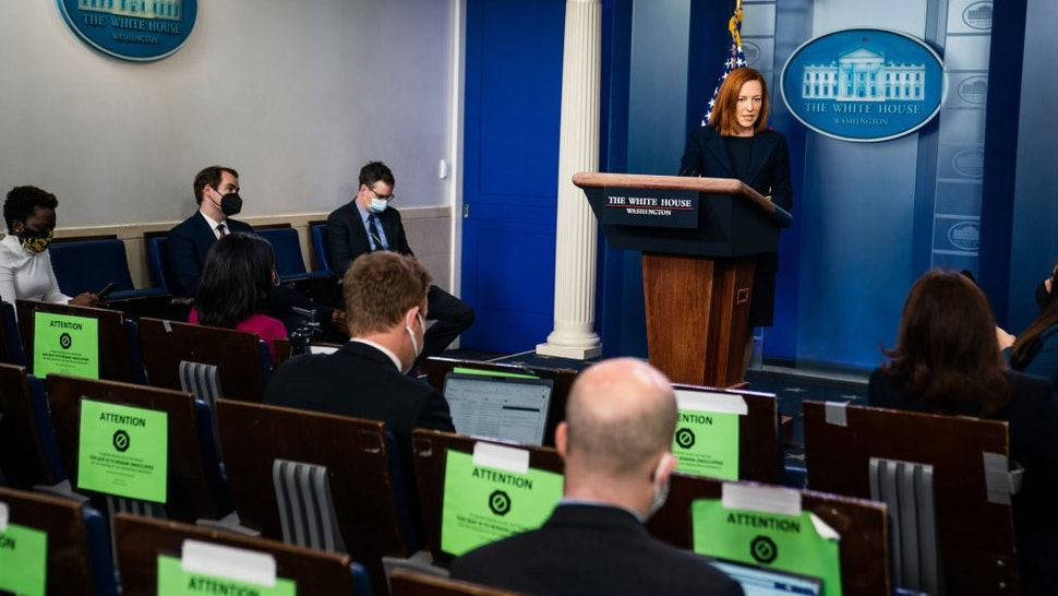 WASHINGTON, DC March 29, 2021: White House Press Secretary Jen Psaki during the daily press briefing in the James Brady Room at the White House on March 29, 2021. (Photo by