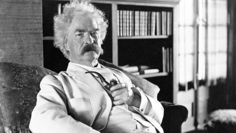 Author Mark Twain poses for a portrait in 1900. (Photo courtesty