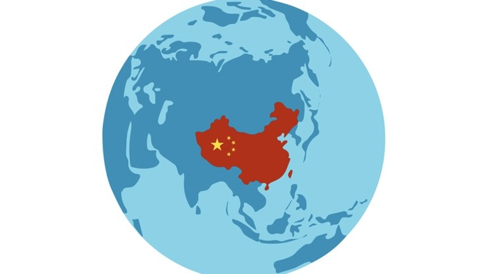 People's Republic of China country silhouette on world map. Globe view from Asia side with China highlighted in red color. Flat vector illustration. - stock vector People's Republic of China country silhouette on world map. Globe view from Asia side with China highlighted in red color. Flat vector illustration. olympuscat via Getty Images