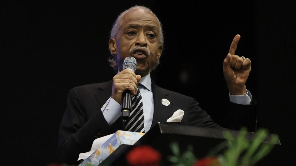ELIZABETH CITY, NORTH CAROLINA - MAY 03: The Rev. Al Sharpton speaks at the funeral of Andrew Brown Jr. at the Fountain of Life church on May 03, 2021 in Elizabeth City, North Carolina. Mr. Brown was shot to death by Pasquotank County Sheriff's deputies on April 21. (Photo by Joe Raedle/Getty Images)