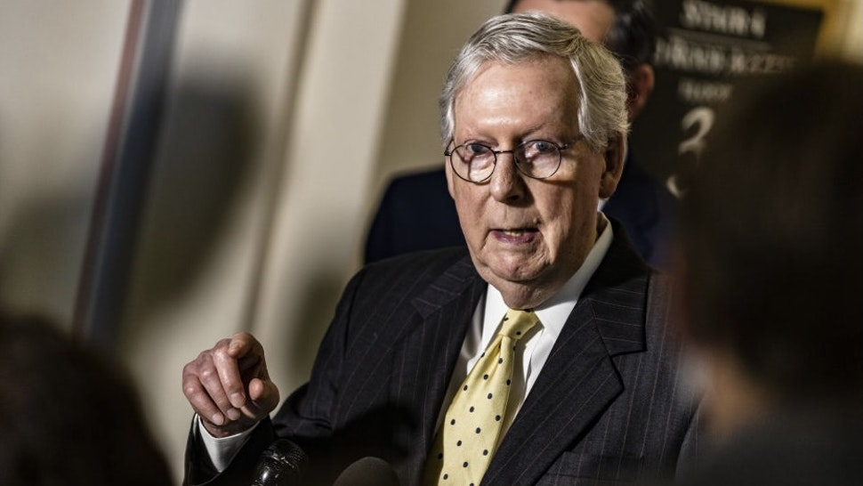 Senate Minority Leader Mitch McConnell, a Republican from Kentucky, speaks during a news conference following the Senate Republican Policy Luncheon in the Russell Senate Office Building in Washington, D.C., U.S., on Tuesday, May 18, 2021. The Senate voted yesterday to move ahead with a bill that would jump-start U.S. research and development with a cash infusion of more than $100 billion as part of a broader push to strengthen American technological competitiveness against a rising China. Photographer: Samuel Corum/Bloomberg
