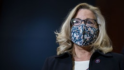 Representative Liz Cheney, a Republican from Wyoming, wears a protective mask during a news conference following a House Republicans meeting at the U.S. Capitol in Washington, D.C., U.S., on Tuesday, March 9, 2021.