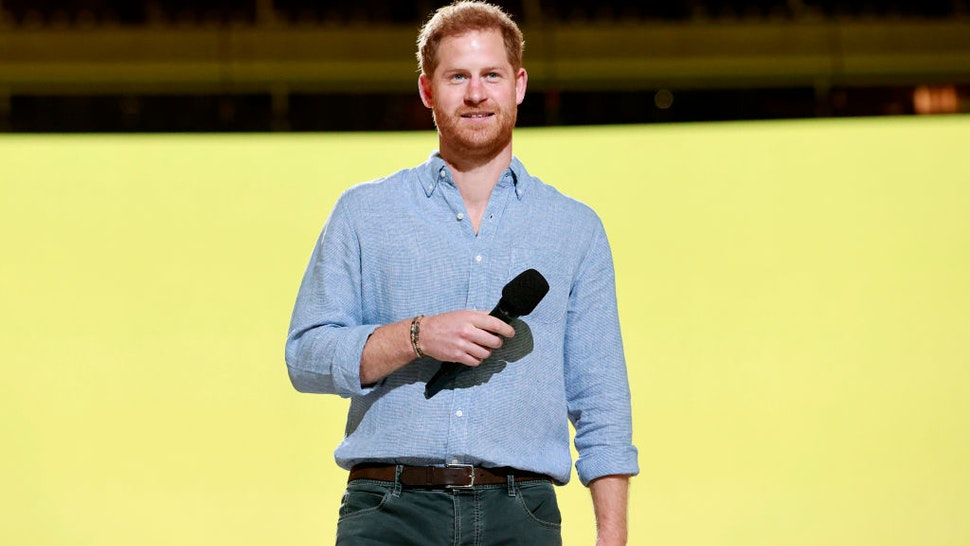 INGLEWOOD, CALIFORNIA: In this image released on May 2, Prince Harry, Duke of Sussex speaks onstage during Global Citizen VAX LIVE: The Concert To Reunite The World at SoFi Stadium in Inglewood, California. Global Citizen VAX LIVE: The Concert To Reunite The World will be broadcast on May 8, 2021. (Photo by Emma McIntyre/Getty Images for Global Citizen VAX LIVE)