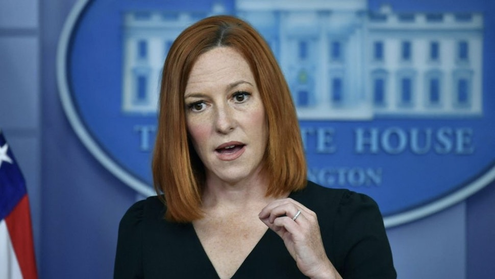 White House Press Secretary Jen Psaki speaks during the daily press briefing at the White House on May 4, 2021 in Washington, DC. (Photo by Nicholas Kamm / AFP) (Photo by NICHOLAS KAMM/AFP via Getty Images)