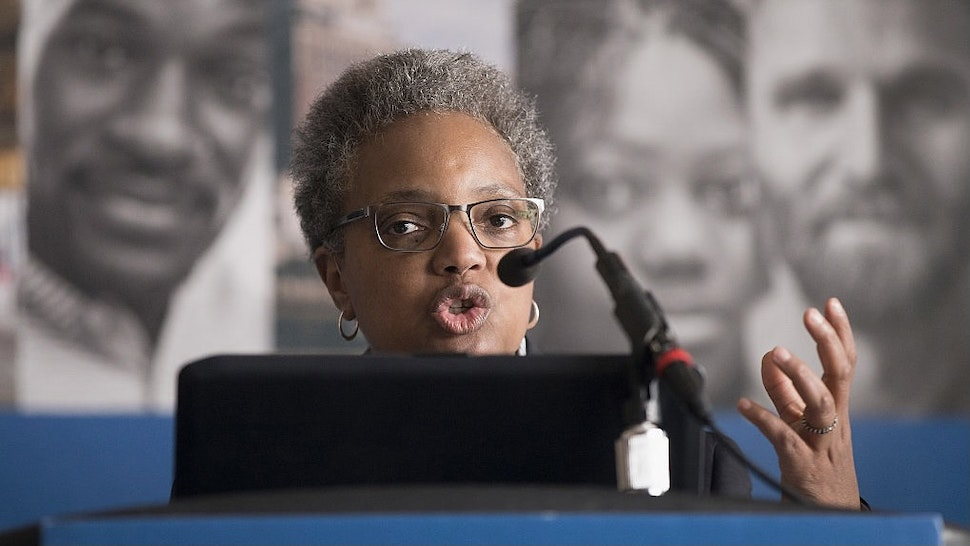 Task Force Finds Entrenched Racism In Chicago Police Department CHICAGO, IL - APRIL 13: Lori Lightfoot, chair of the Chicago Police Board, addresses community leaders and members of the news media about the findings of the Police Accountability Task Force on April 13, 2016 in Chicago, Illinois. The task force found the Chicago Police Department was plagued by systematic racism and had lost the trust of the community. (Photo by Scott Olson/Getty Images)
