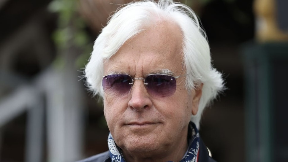 LOUISVILLE, KENTUCKY - APRIL 29: Bob Baffert the trainer of Medina Spirit talks to the media during the training for the Kentucky Derby at Churchill Downs on April 29, 2021 in Louisville, Kentucky. (Photo by Andy Lyons/Getty Images)