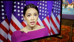 US Rep. Alexandria Ocasio-Cortez (D-NY) seconds the nomination of US Senator Bernie Sanders via video feed during the second day of the Democratic National Convention, being held virtually amid the novel coronavirus pandemic, at its hosting site in Milwaukee, Wisconsin, on August 18, 2020.