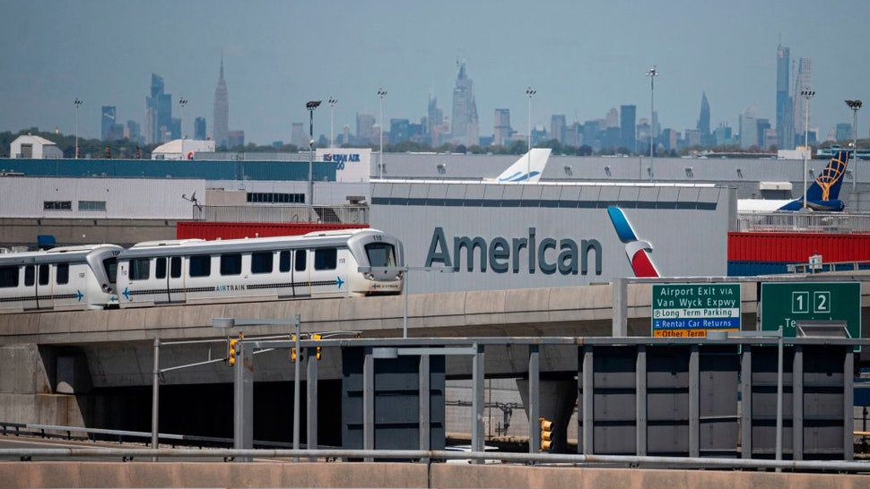 The American Airlines logo is seen at John F. Kennedy Airport (JFK) is seen amid the novel coronavirus pandemic on May 13, 2020 in Queens, New York. (Photo by Johannes EISELE / AFP) (Photo by JOHANNES EISELE/AFP via Getty Images)