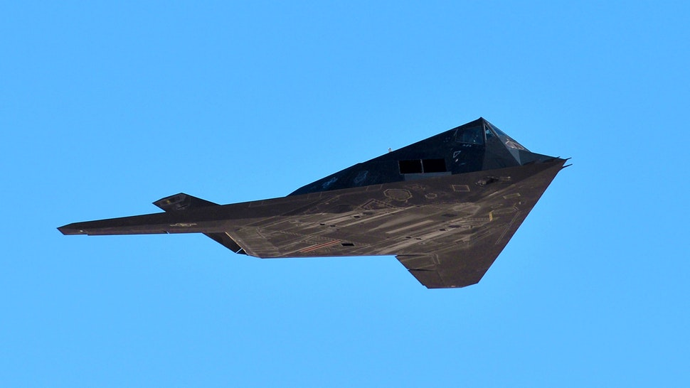 DEATH VALLEY, CALIFORNIA - FEBRUARY 27: The F-117 Nighthawk Stealth Fighter flies on February 27, 2019 in Death Valley, California.