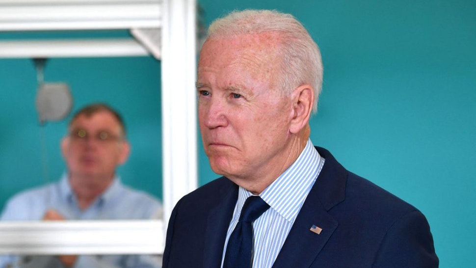 US President Joe Biden looks on during a tour of the Cuyahoga Community College Manufacturing Technology Center, on May 27, 2021, in Cleveland, Ohio.