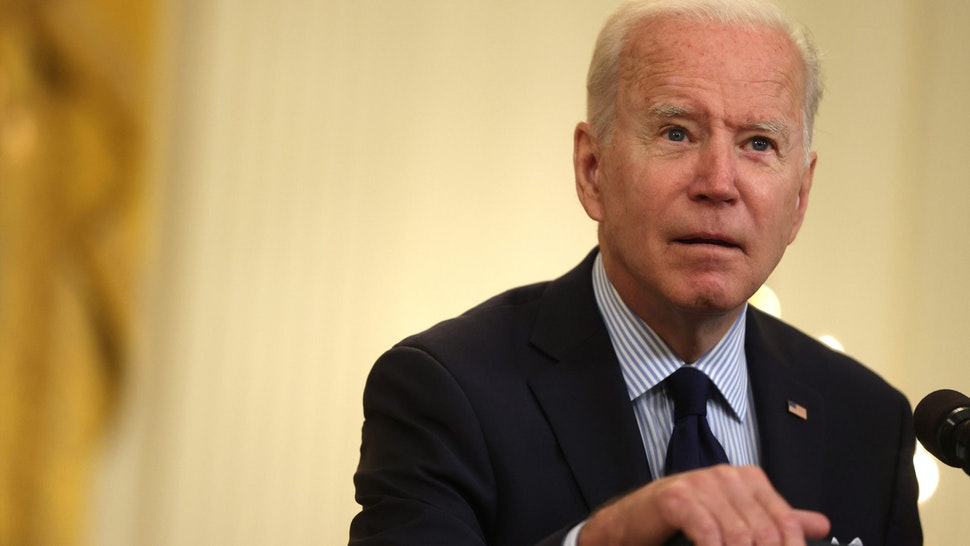 WASHINGTON, DC - MAY 07: U.S. President Joe Biden speaks on job numbers from April, 2021 at the East Room of the White House May 7, 2021 in Washington, DC. U.S. economy added 266,000 jobs in April, far less than the one million jobs that was expected.