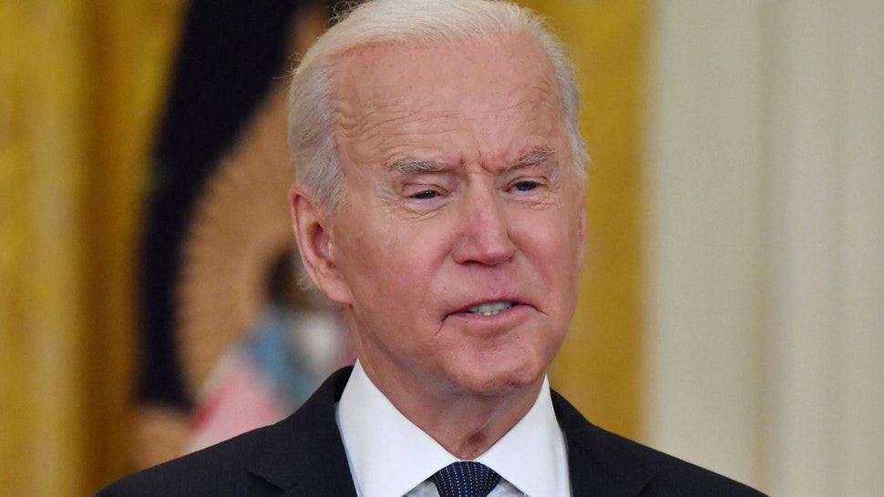 US President Joe Biden makes remarks on the economy and the Colonial Pipeline network cyber attack on May 10, 2021 in the East Room of the White House in Washington, DC.