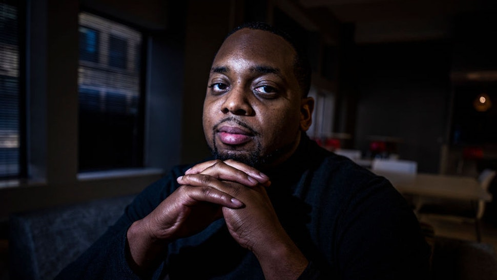 On Wednesday April 28, 2021 in downtown Minneapolis MN, Brandon Mitchell, a juror in the Derek Chauvin trial for the death of George Floyd, speaks out about his experience. (Star Tribune via Getty Images / Contributor)