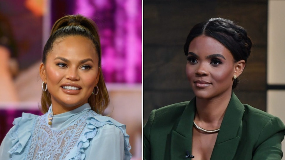 """Chrissy Teigen on Wednesday, February 19, 2020; Host Candace Owens is seen on set of """"Candace"""" on May 10, 2021 in Nashville, Tennessee."""