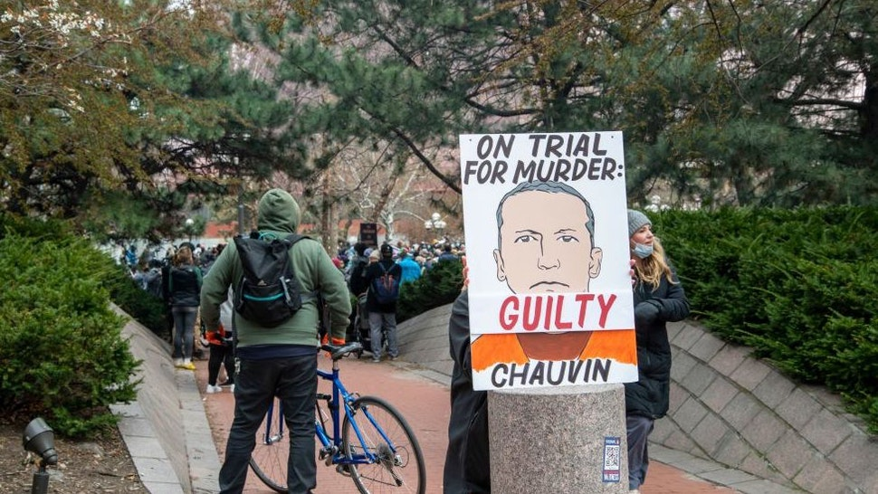 Minneapolis, Minnesota. People gather at the government center to wait for the verdict in the trial of Derek Chauvin for the killing of George Floyd.