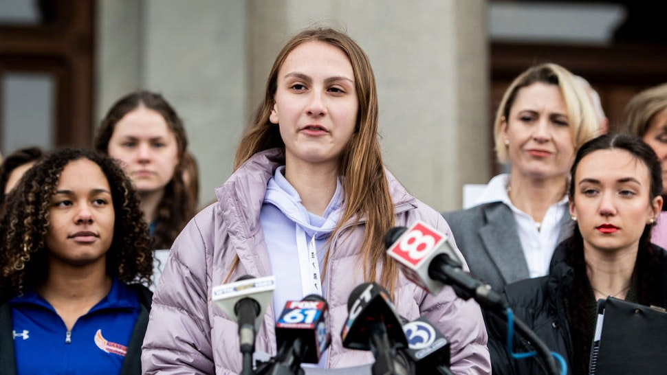 Canton High School senior Chelsea Mitchell speaks during a press conference with Alanna Smith, Danbury High School sophomore, to her left and Selina Soule, Glastonbury High School senior, to her right at the Connecticut State Capitol Wednesday, Feb. 12, 2020, in downtown Hartford, Conn. (Kassi Jackson/Hartford Courant/Tribune News Service via Getty Images)