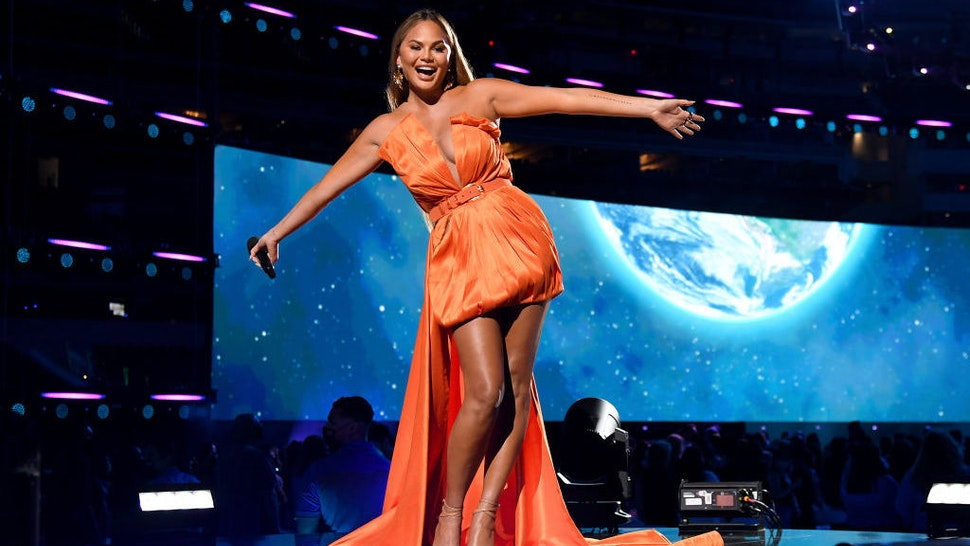 INGLEWOOD, CALIFORNIA: In this image released on May 2, Chrissy Teigen speaks onstage at Global Citizen VAX LIVE: The Concert To Reunite The World at SoFi Stadium in Inglewood, California. Global Citizen VAX LIVE: The Concert To Reunite The World will be broadcast on May 8, 2021. (Photo by Kevin Mazur/Getty Images for Global Citizen VAX LIVE)