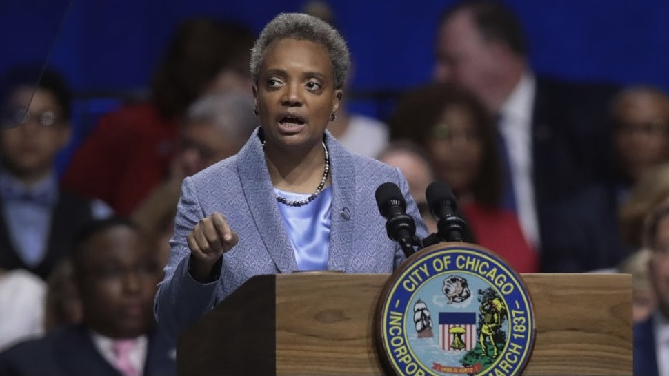Lori Lightfoot Is Sworn In As Chicago's First Female African American Mayor CHICAGO, ILLINOIS - MAY 20: Lori Lightfoot addresses guests after being sworn in as Mayor of Chicago during a ceremony at the Wintrust Arena on May 20, 2019 in Chicago, Illinois. Lightfoot become the first black female and openly gay Mayor in the city's history. (Photo by Scott Olson/Getty Images)