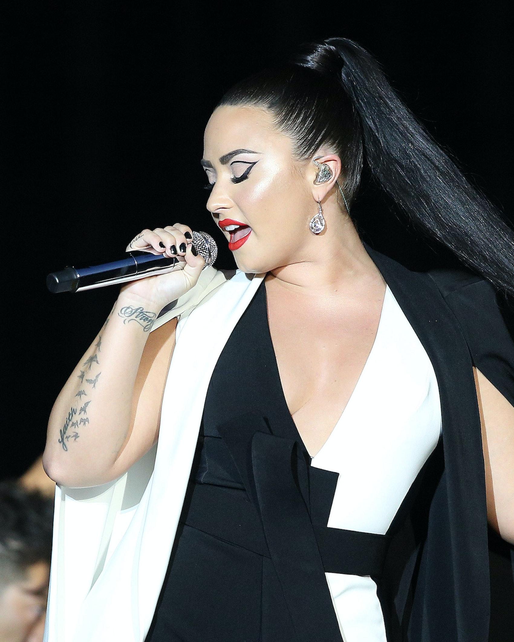 US singer Demi Lovato performs at the Rock in Rio Lisboa 2018 music festival in Lisbon, Portugal, on June 24, 2018. ( Photo by Pedro Fiúza/NurPhoto)